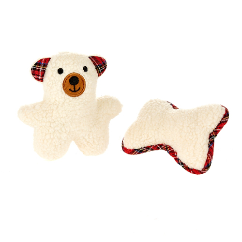 Softy Bear & Bone Dog Toy Twin Pack