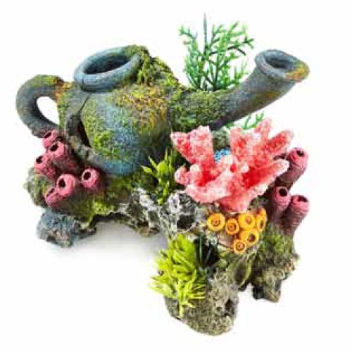 Jarra con rocas y plantas