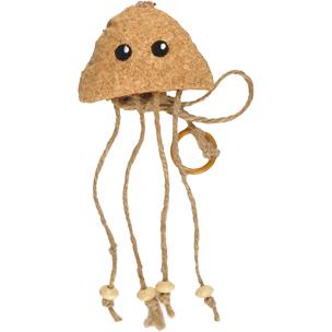 medusa de corcho colgante para gatos